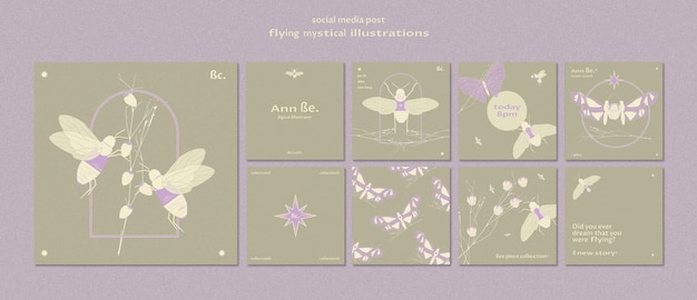 Flying mystical social media post template