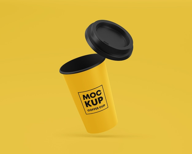 Flying paper coffee cup mockup with cap