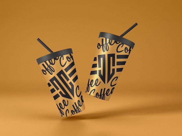 Flying paper coffee cup mockup