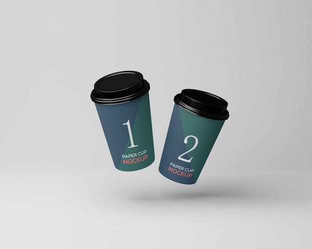 フライング ペーパー コーヒー カップ モックアップ
