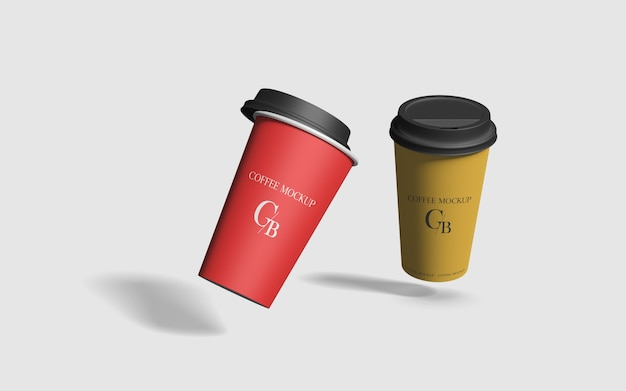 Летающая бумажная кофейная чашка с крышкой макет