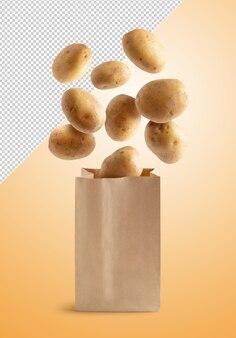 클리핑 경로와 격리 재활용 종이 봉지에 감자를 비행