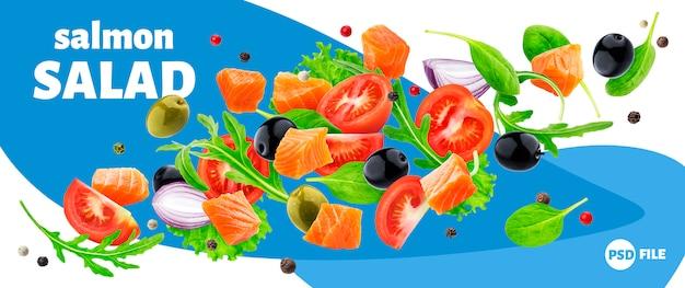 Flying salmon salad banner