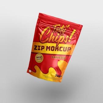 Flying snack zip lock realistic food packaging and branding 3d product mockup