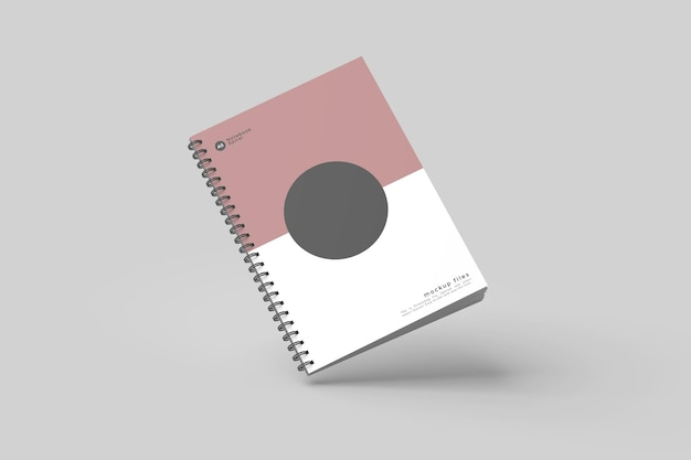 Flying spiral notebook mockup design isolated