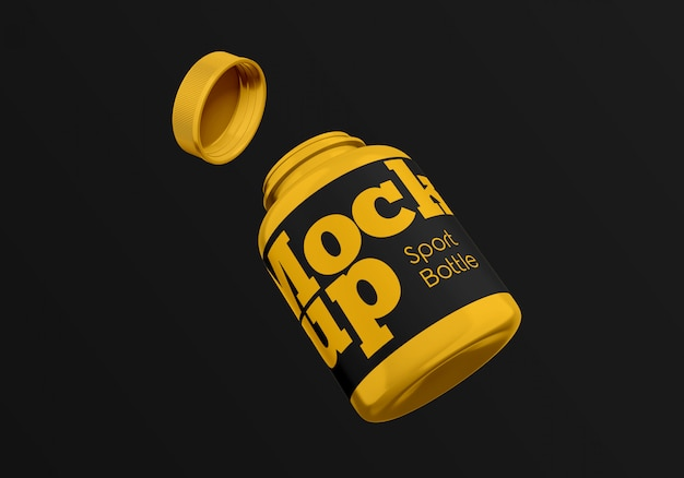 Flying sport bottle mockup