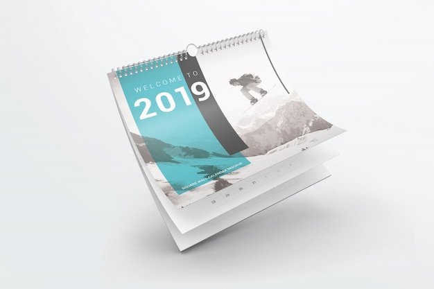 Flying square wall calendar mockup