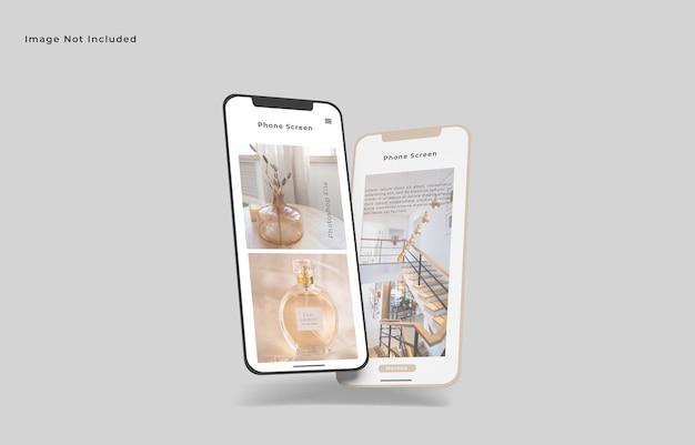 Летающие два экрана смартфона мокап