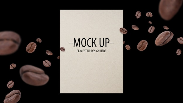 Flying whirl roasted coffee beans with copy space mockup template