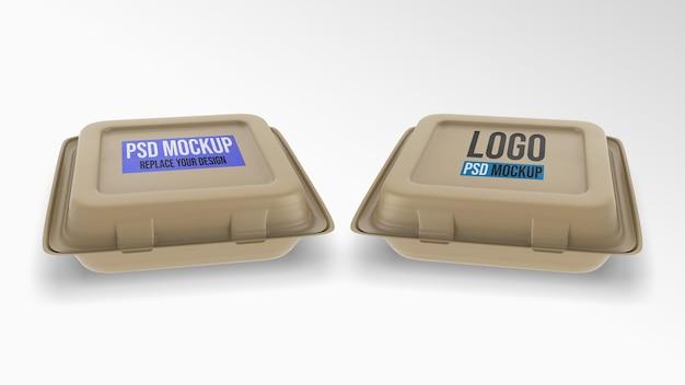 Пенный пищевой контейнер макет 3d-рендеринга