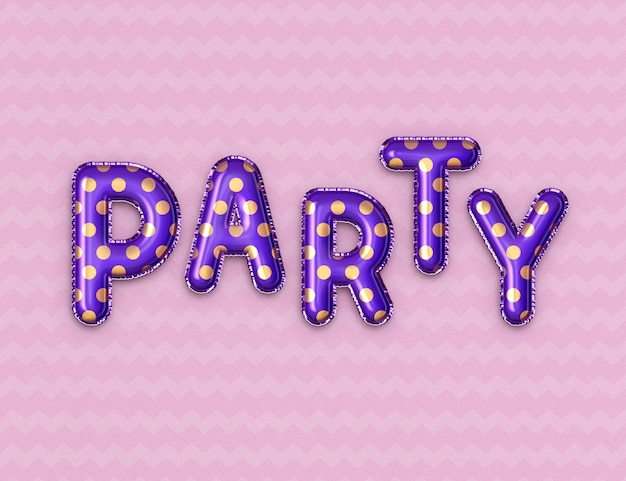 Foil balloon party text effect template