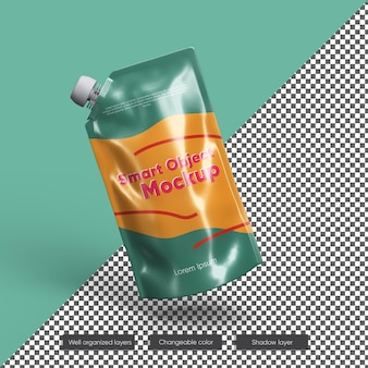 Мокап упаковки фруктового сока из фольги