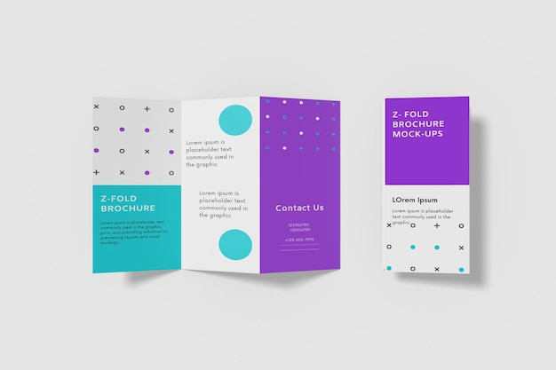 Fold brochure mockup design isolated