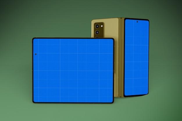 折りたたみ式携帯電話セットモックアップ