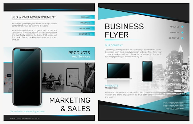 Foldable business flyer template psd in modern design