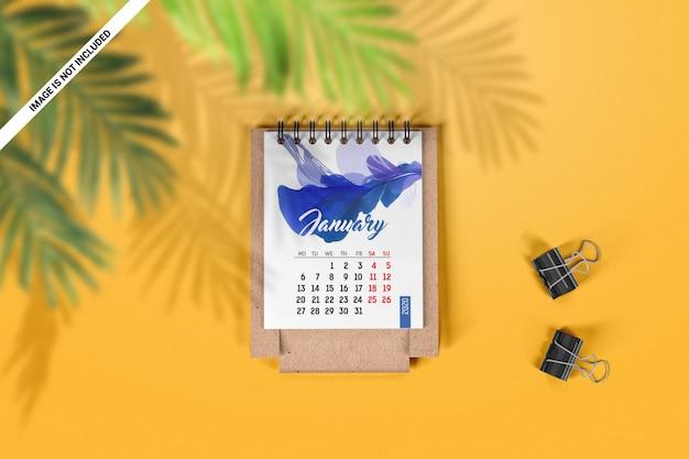Folded desk calendar top view mockup
