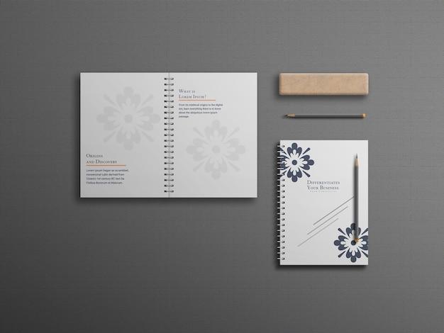 Сложенный минималистичный и чистый блокнот или макет блокнота
