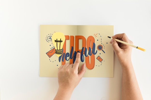 Folded paper mockup with tips concept
