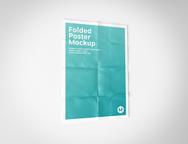 Folded poster on white mockup