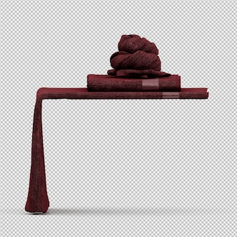 Folded towels on edge 3d isolated render