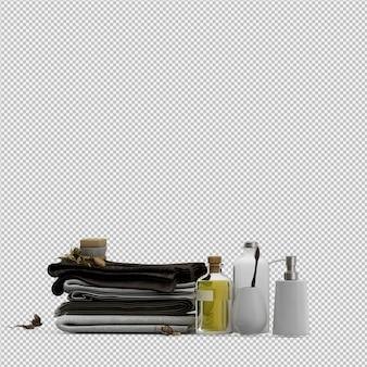 Сложенные полотенца с аксессуарами для ванной комнаты 3d изолированные визуализации