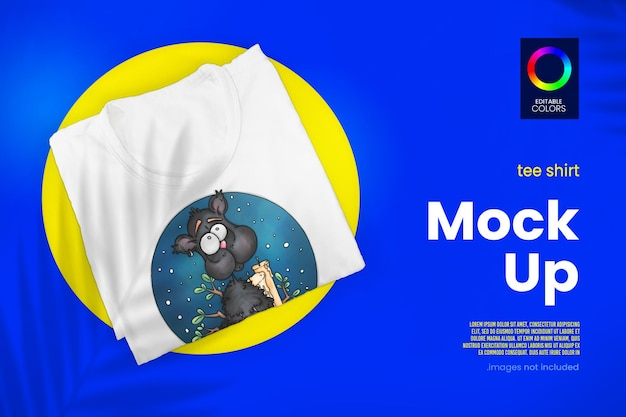 Folded tshirt mockup design in 3d rendering