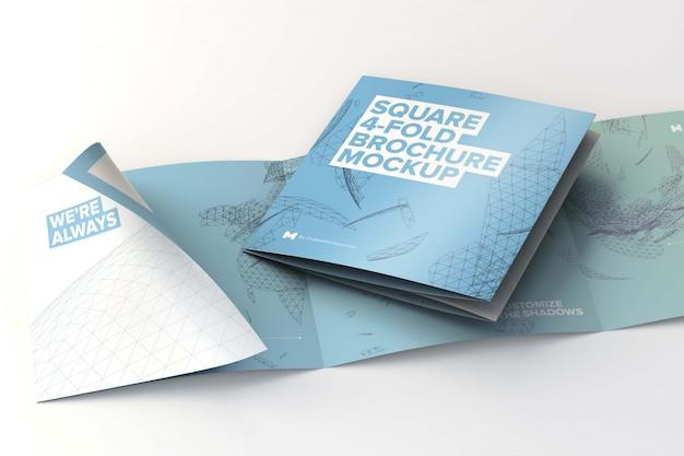 Folded and unfolded square 4 fold brochure mockup
