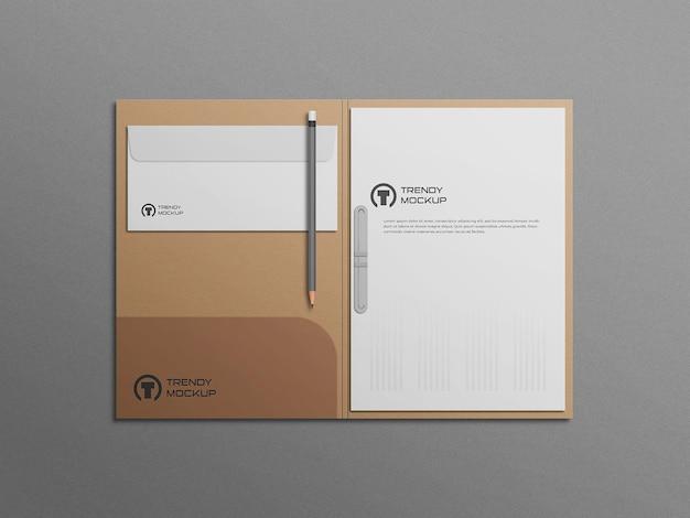 Folder mockup with letterhead and envelope