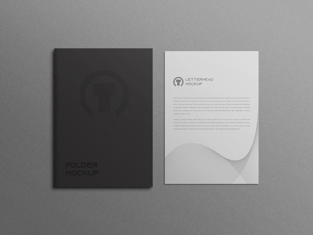 Folder mockup with letterhead