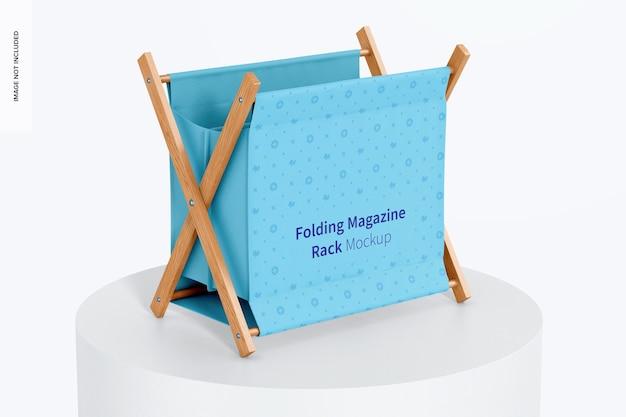 Folding magazine rack mockup, on surface