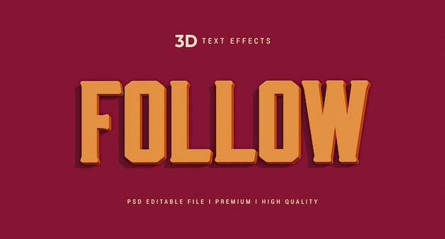 Follow 3d text style effect mockup