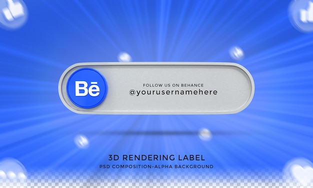 Follow me on behance social media lower third 3d design render icon badge with frame