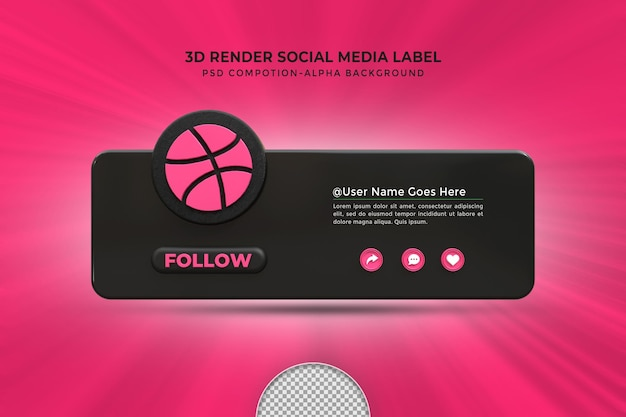 Follow me on dribble social media lower third 3d design render icon badge with frame