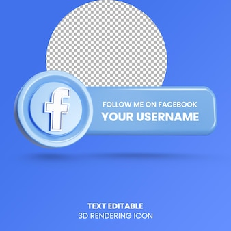Follow me on facebook label 3d rendering social media logo icon Premium Psd