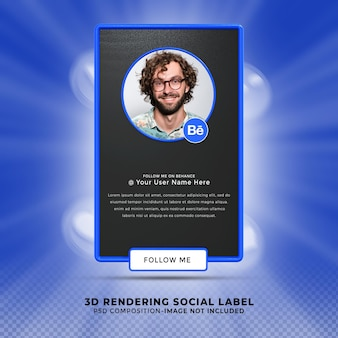 Следуй за мной в социальных сетях behanc. нижняя третья третья часть 3d визуализации. профиль значка баннера.