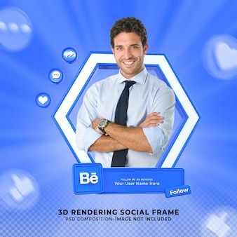 Следуйте за мной в социальных сетях behance, нижняя третья третья часть значка визуализации 3d-дизайна с рамкой