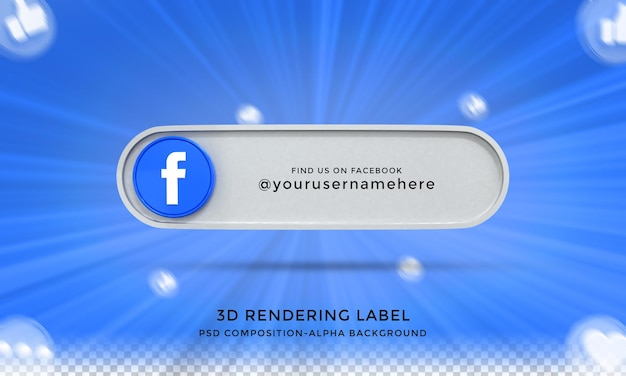 Следуйте за мной в социальных сетях facebook нижней трети 3d-дизайна визуализирует значок значка с рамкой