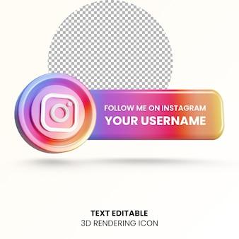 Instagram ラベル 3 d レンダリング ソーシャル メディアのロゴ アイコンでフォローしてください。