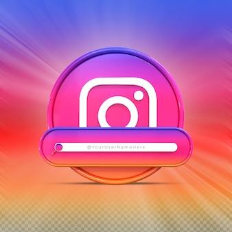 Следуйте за мной в instagram в социальных сетях профиль значка баннера 3d рендеринг нижней трети