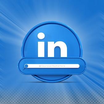 Linkedin 소셜 미디어 배너 아이콘 프로필 3d 렌더링 낮은 세 번째에서 나를 따르십시오.