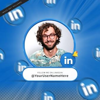 Linkedin 소셜 미디어에서 저를 팔로우하십시오 3d 디자인 렌더링 배너 아이콘 프로필