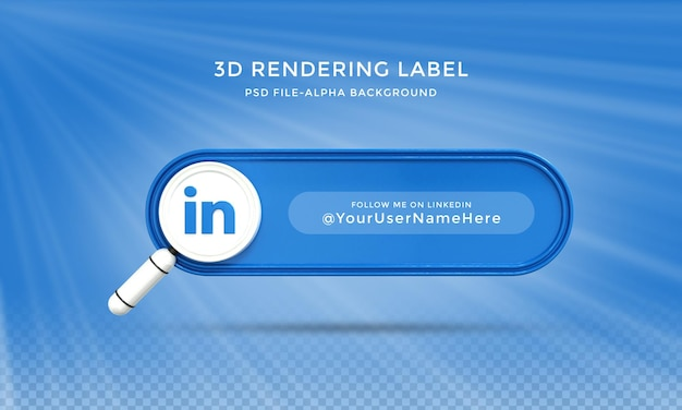 Linkedin 소셜 미디어에서 저를 따르십시오 3d 디자인 렌더링 아이콘 배지 템플릿