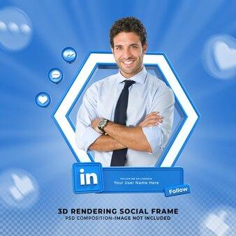 Linkedin 소셜 미디어에서 저를 팔로우하세요. 프레임이 있는 3d 디자인 렌더링 아이콘 배지 하단