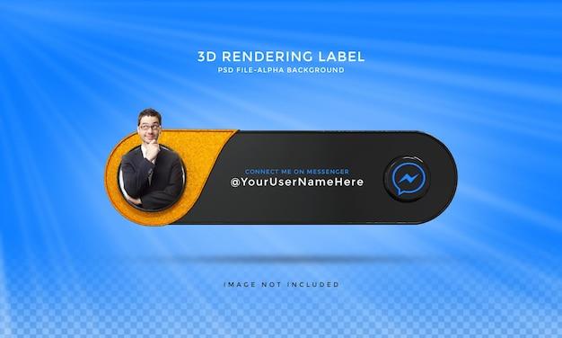 Следуйте за мной в социальных сетях messenger, нижняя третья третья часть 3d-дизайна визуализирует значок значка с рамкой