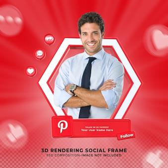 Следуйте за мной в социальных сетях pinterest, нижняя третья третья часть значка рендеринга значка с рамкой