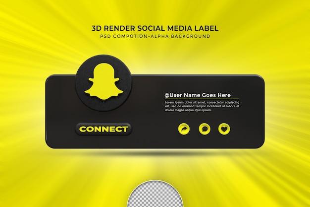 Следуйте за мной в социальных сетях snapchat, нижняя третья третья часть 3d-дизайна отображает значок значка с рамкой