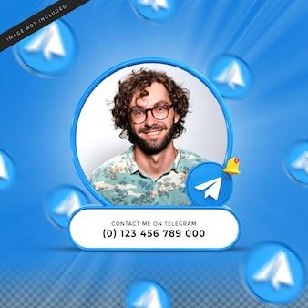 Следуйте за мной в социальных сетях telegram, нижняя треть 3d-дизайн визуализирует профиль значка баннера