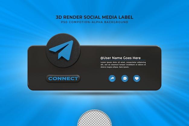 Следуйте за мной в социальных сетях telegram, нижняя третья третья часть 3d визуализирует значок значка с рамкой