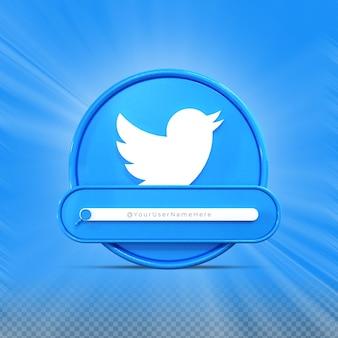 Следуйте за мной в twitter социальные сети профиль значка баннера 3d рендеринг нижней трети