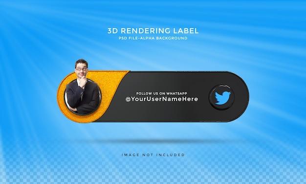 Следуйте за мной в социальных сетях twitter, нижняя третья третья часть 3d визуализирует значок значка с рамкой